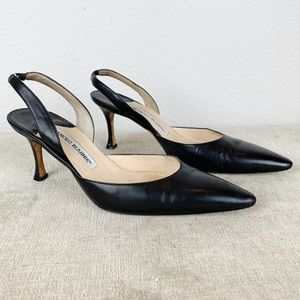 MANOLO BLAHNIK Black Slingback Heels 7.5